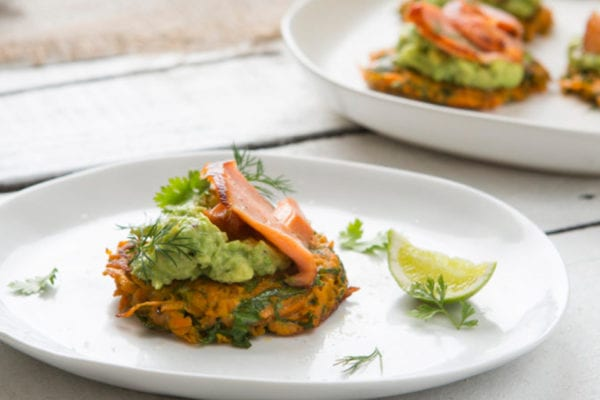 Sweet Potato Fritters with Smashed Avocado and Salmon